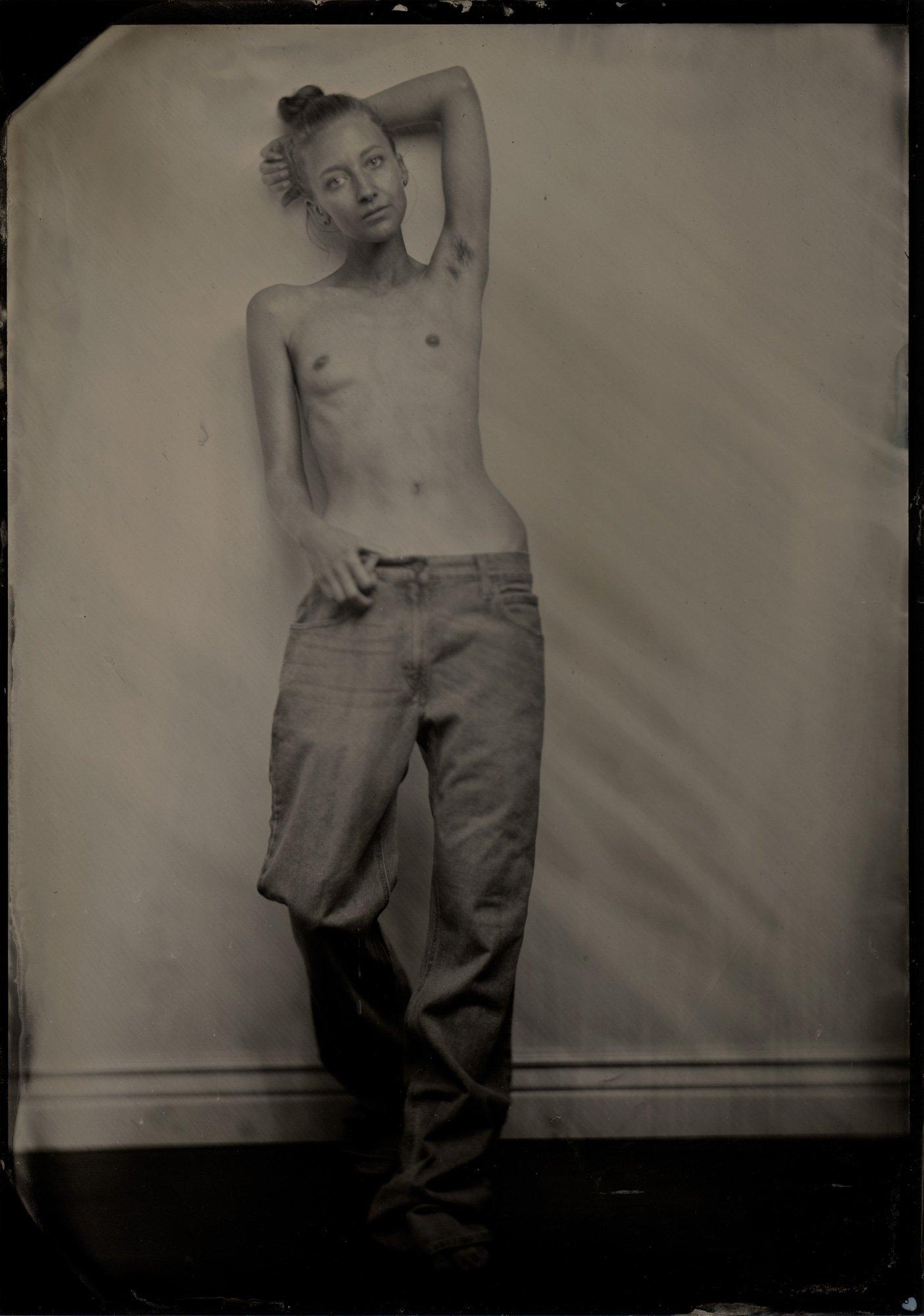 Image of Girl Photographed. Tintype, 5x7