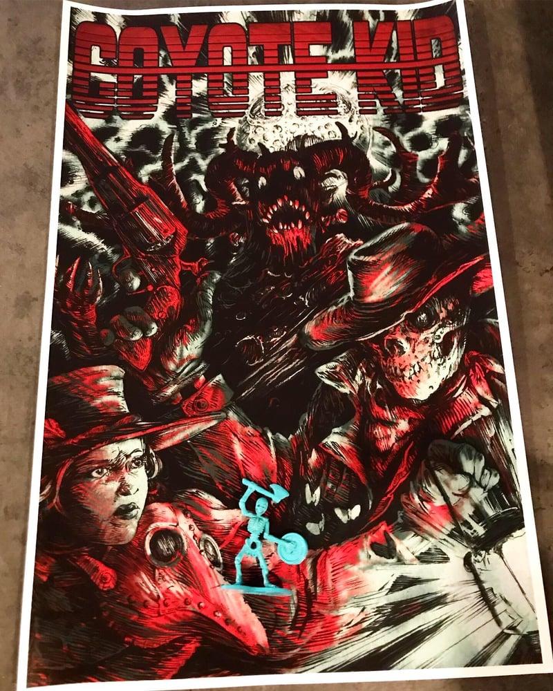 Image of Skeleton Man Album Poster + Cyan Skeleton Army Figure