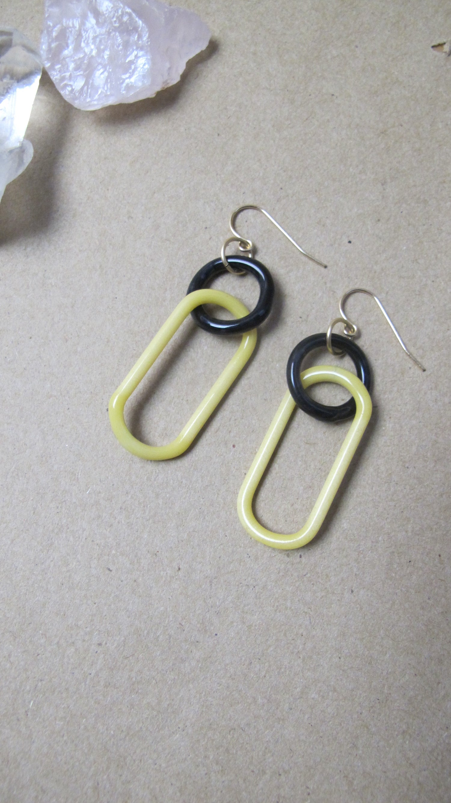 Image of Black magic and lemon double link earrings (o0)