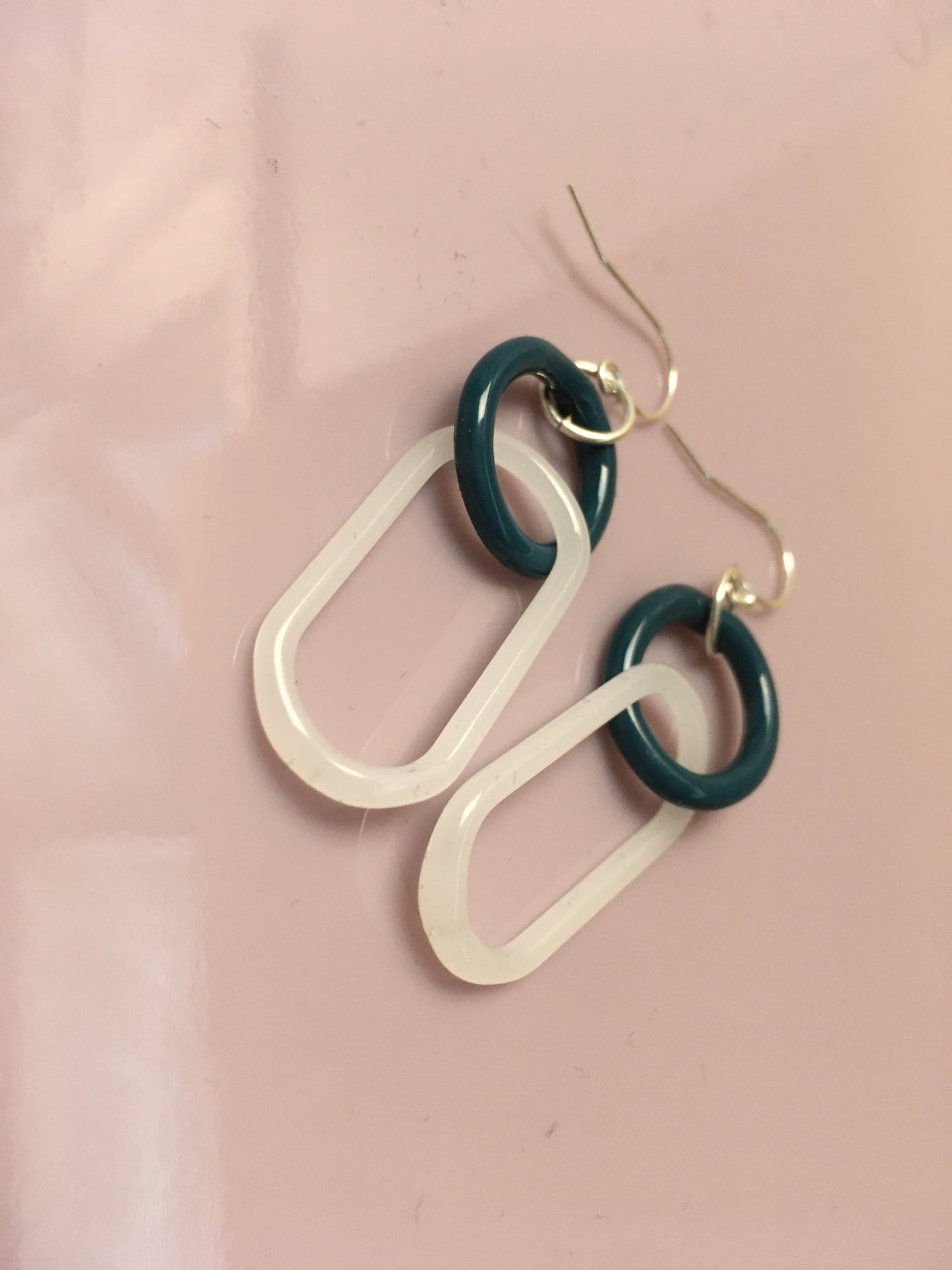 Image of blue raz and milk double link earrings (o0)