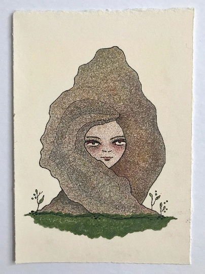 Image of Plant Lady Portrait - Original Drawing