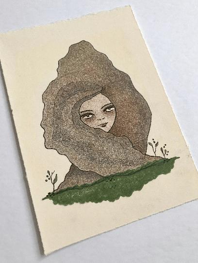 Image of Plant Lady Portrait - Original Drawing