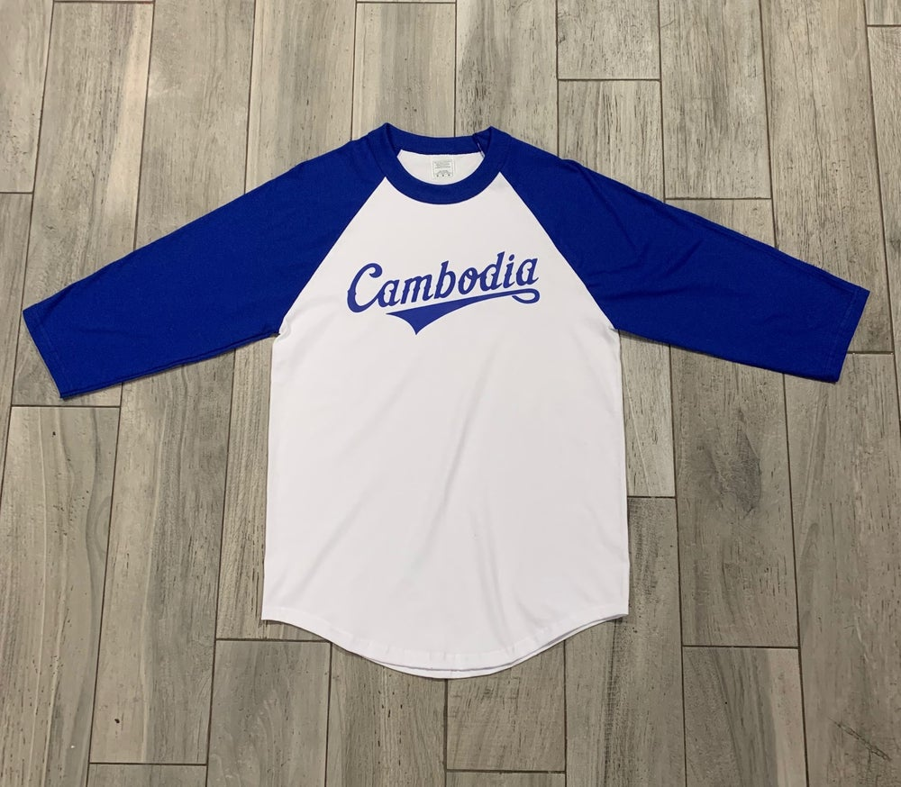 Image of Royal/White Cambodia Raglan Tee