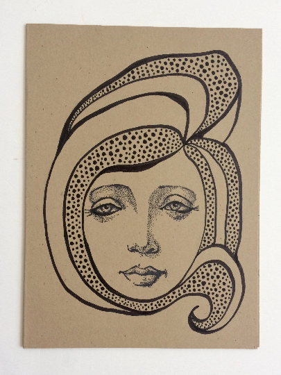 Image of Nouveau Portrait 1 - Original Art Card