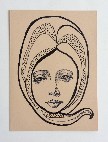 Image of Nouveau Portrait 2 - Original Art Card
