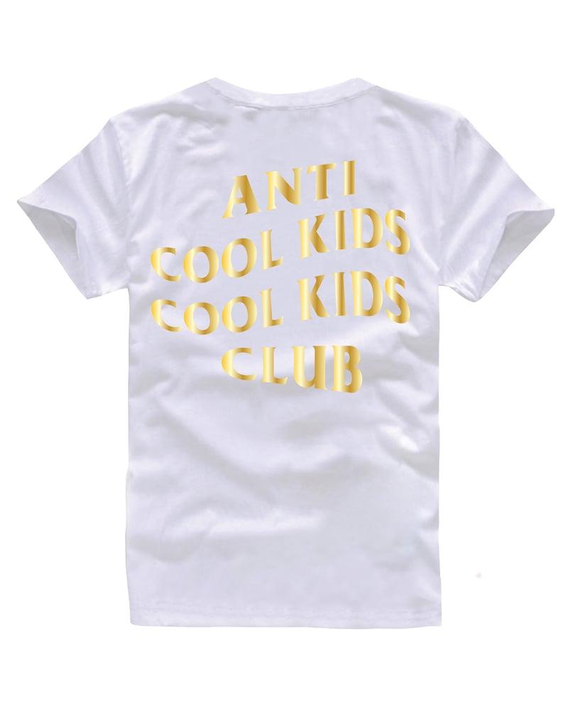 Image of ANTI COOL KIDS TEE GOLD/WHITE