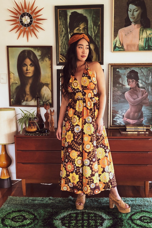 Honey bunch Halter dress in Lover lover dark brown