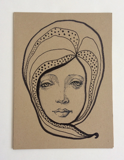 Image of Nouveau Portrait 3 - Original Art Card