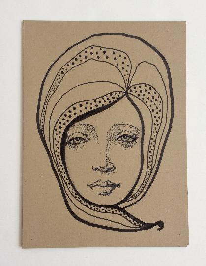 Image of Nouveau Portrait 3 - Original Art Card