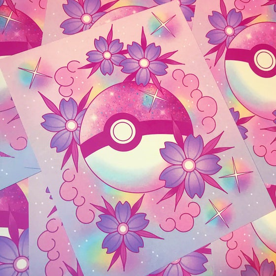 Image of Pink Pokeball Print