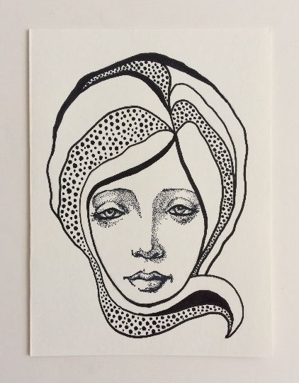 Image of Nouveau Portrait 4 - Original Art Card