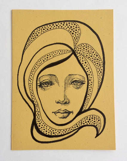 Image of Nouveau Portrait 5 - Original Art Card