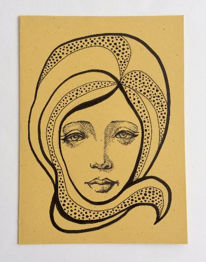 Image of Nouveau Portrait 5 - Original Art Card