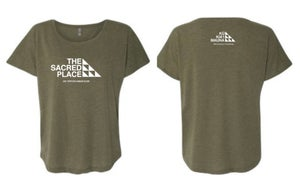 Image of The Sacred Place Army Green Shirt (women's)