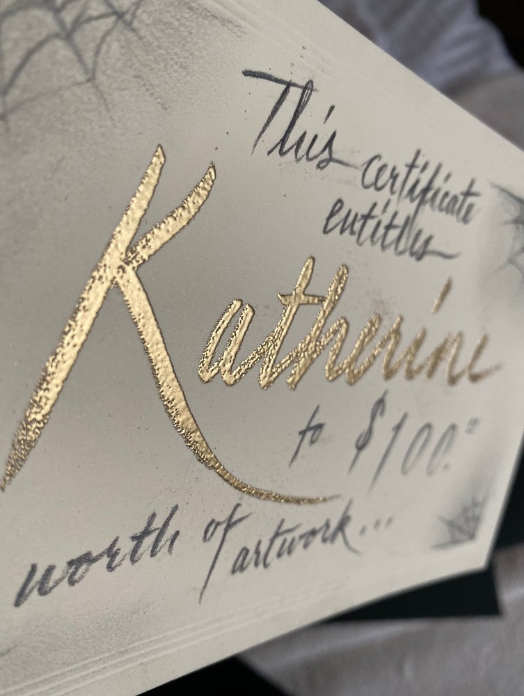 Image of Personalized Gold Foil Gift Certificate in Wax-sealed Envelope