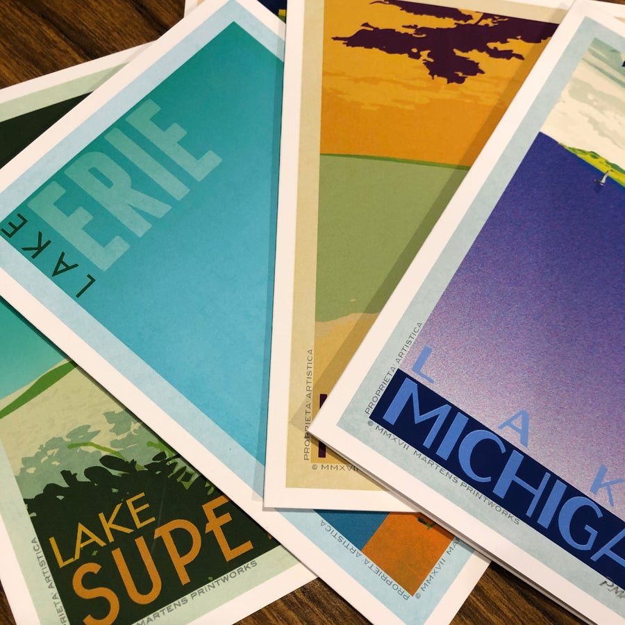 Image of 5x7 Mid Centruy Great Lakes Greeting Cards