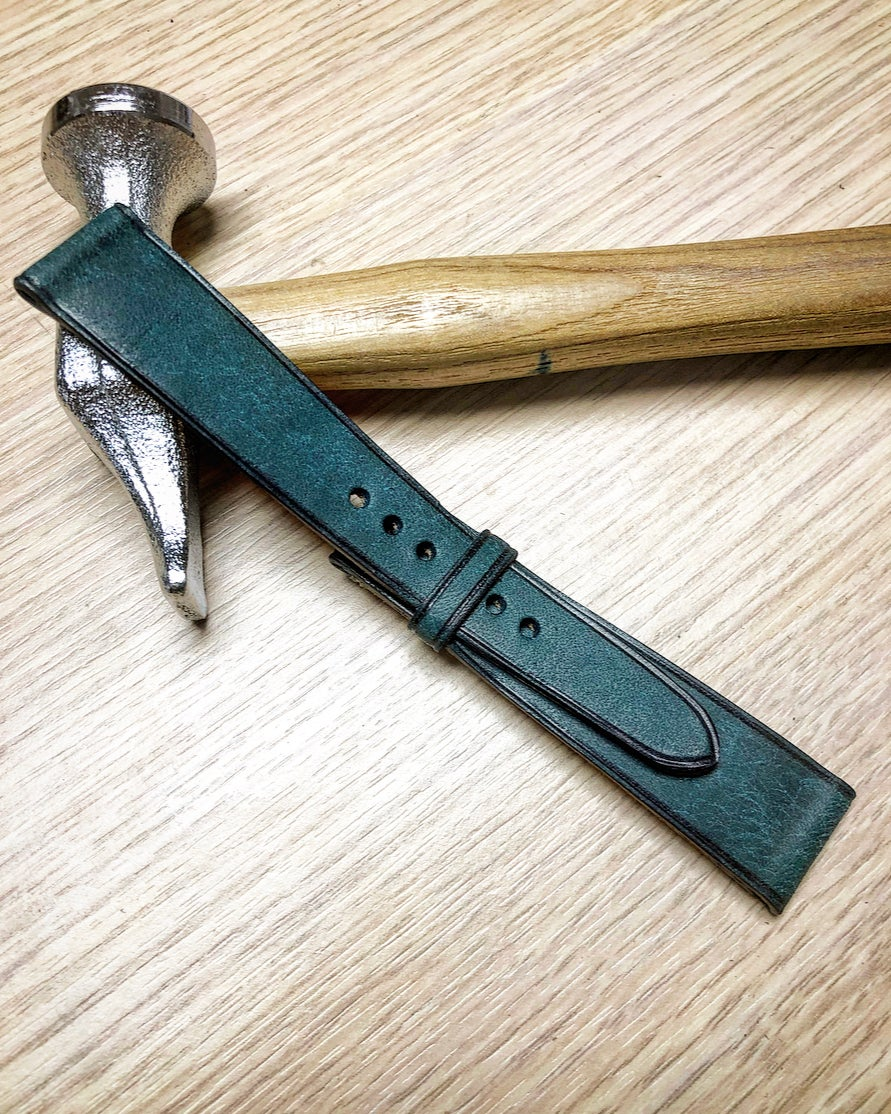 Image of Vintage Teal calfskin watch strap