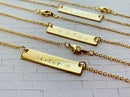Image 3 of Gold Personalized Hand Stamped Bar Necklace