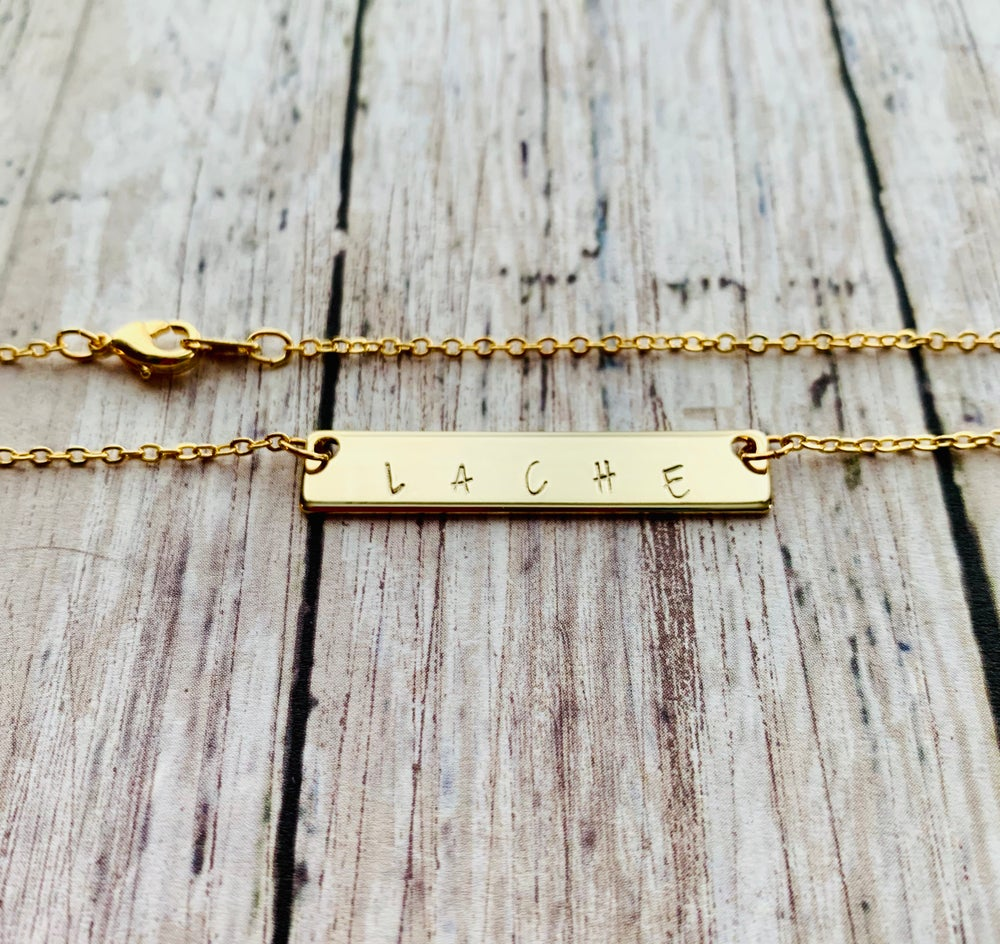Image of Gold Personalized Hand Stamped Bar Necklace