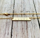 Image 1 of Gold Personalized Hand Stamped Bar Necklace