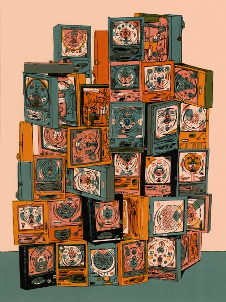 "Image of ""Pachinko I"" (Memo Orange Variant) • Limited Edition Art Print (18"" x 24"")"