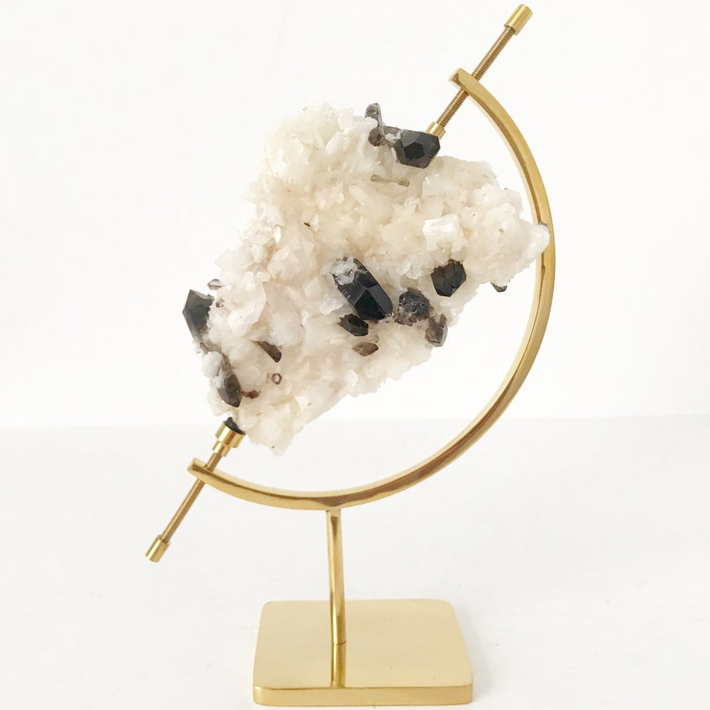 Image of Smoky Quartz/Adularia no.96 + Brass Arc Stand