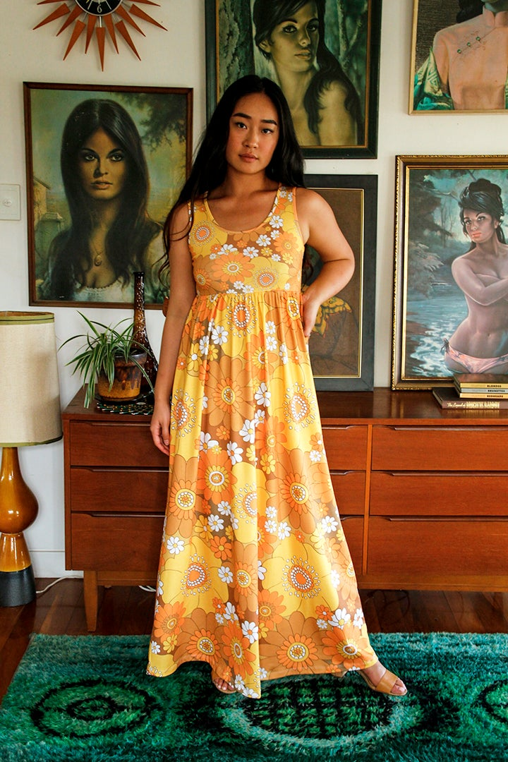 Baby doll maxi dress in Pushing daisies Orange and brown print