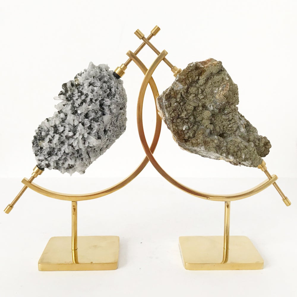 Image of Quartz/Galena/Chalcopyrite no.03 + Brass Arc Stand