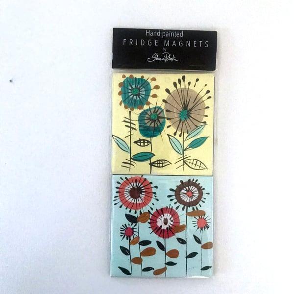 "Image of Fridge Magnets"" Midcentury Flowers"""