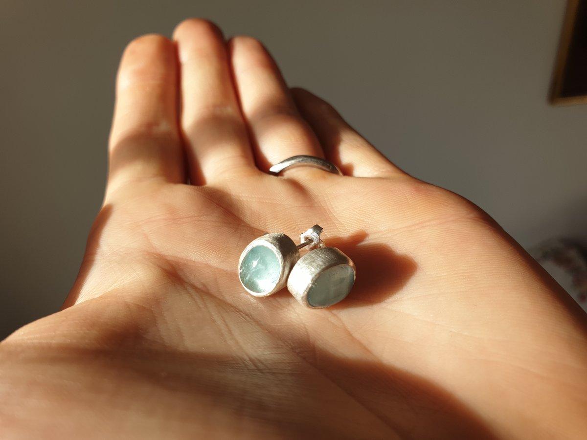 Aquamarine cabochon silver studs