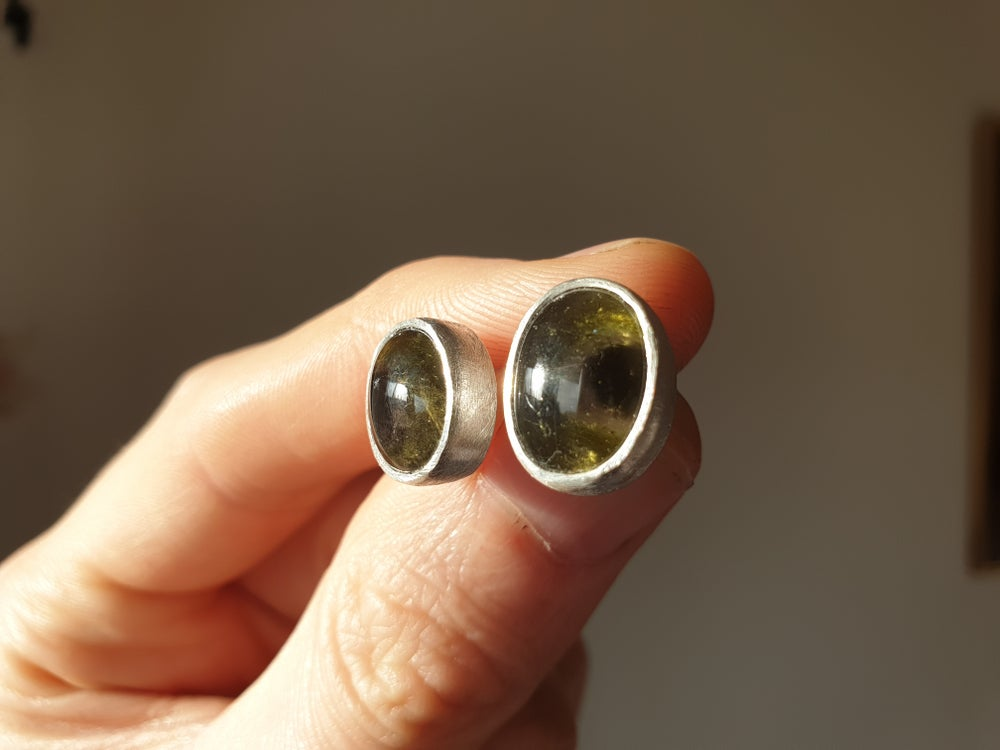 Image of Green and black Brazilian tourmaline studs