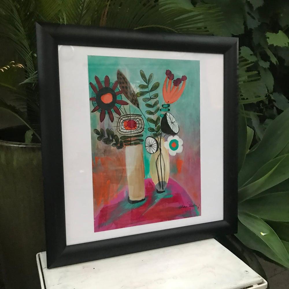 "Image of ""Mid Century Flowers"" FRAMED Print"