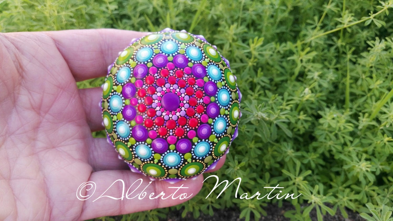 Image of Beautiful new Mandala painted stone.