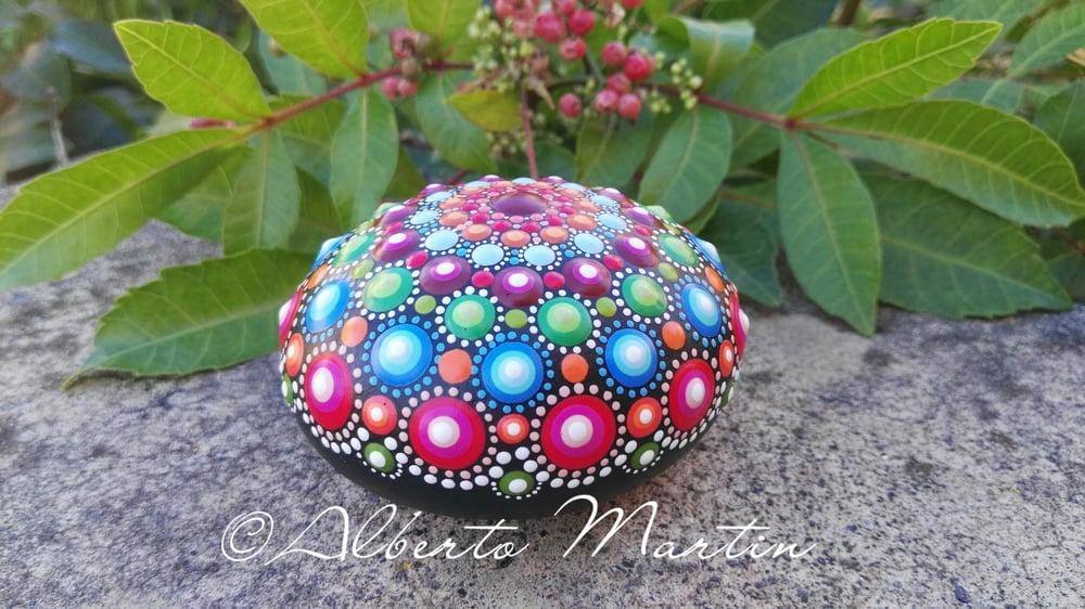 Image of Mandala painted stone new.