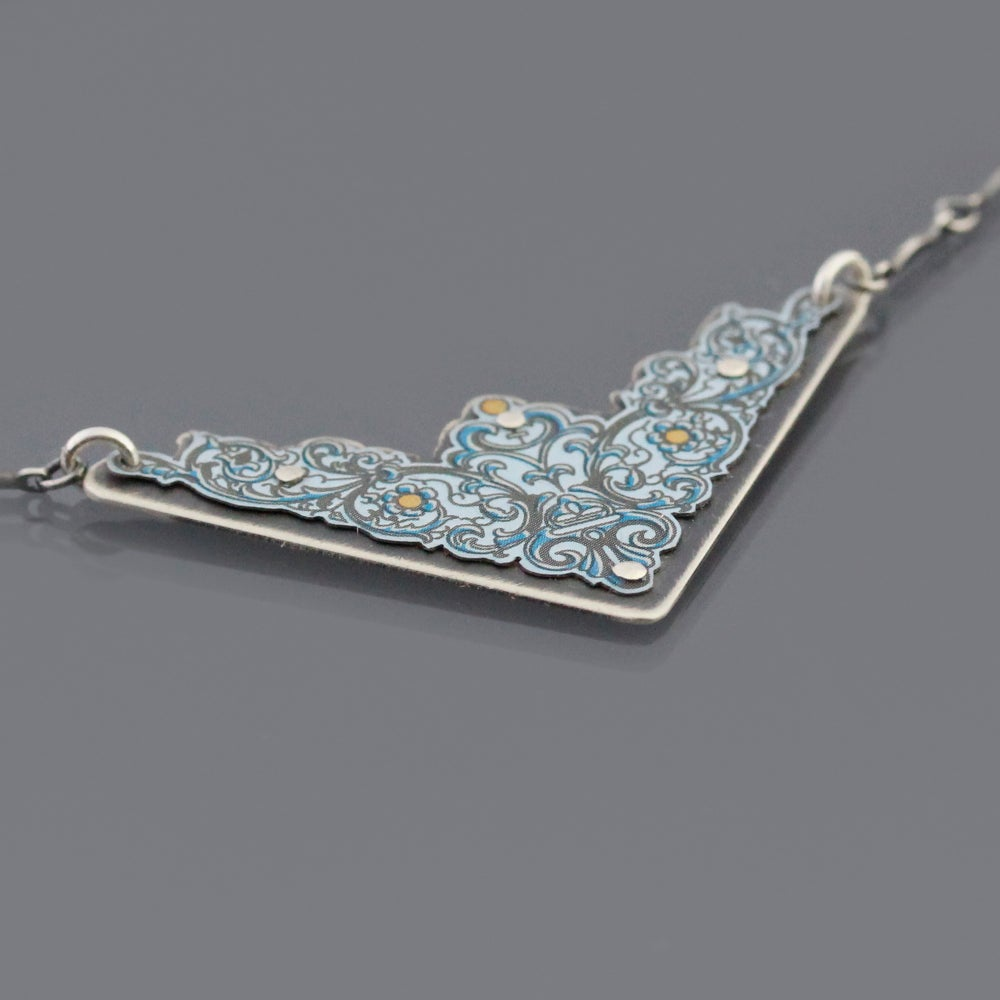 Image of Sterling Silver Mixed Metal Tea Tin Triangle Necklace