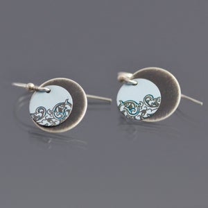 Image of Small Sterling Silver Mixed Metal Tea Tin Circle Earrings