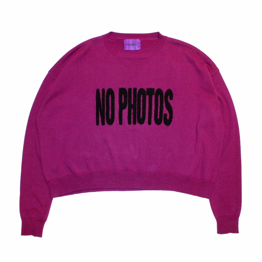 Image of PHOTO BLOCK KNIT SWEATER (PLUM)