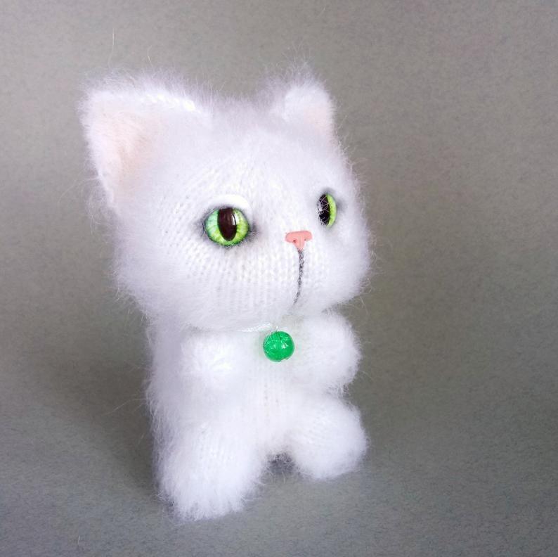 Image of White Cat Knit Toy, Kawaii Plush Kitten, Cat Loss Gift, Pet Memorial Art, Cat Lover Amigurumi