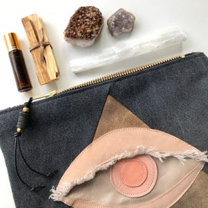 Image of ALL SEEING EYE POUCH - ROSE QUARTZ