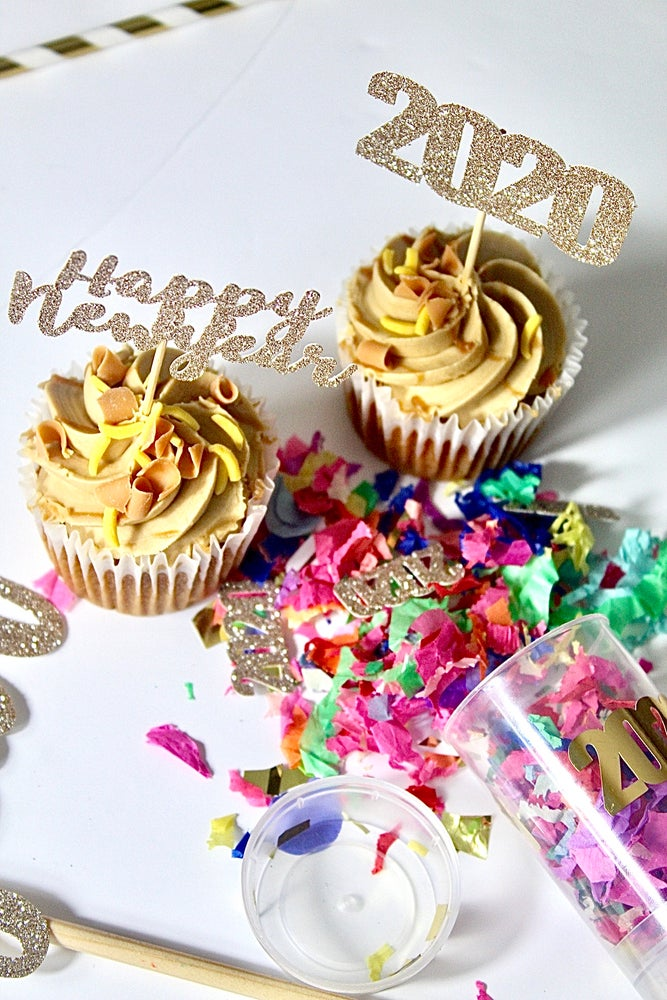 Image of Happy New Year 2020 set - cupcake toppers, straws and sign
