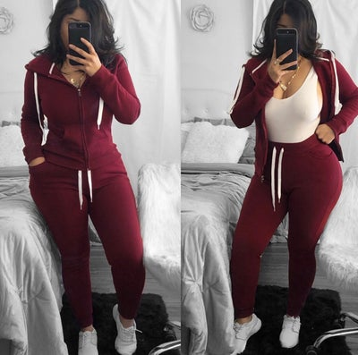 Image of Burgundy sweat suit