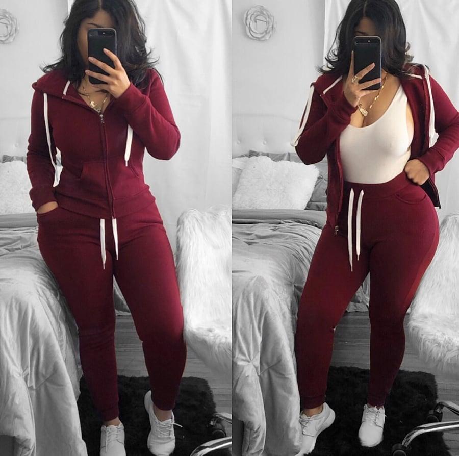 Image of Burgundy sweat suit