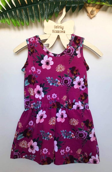 Image of Wine Floral Jersey Romper (Size 1)