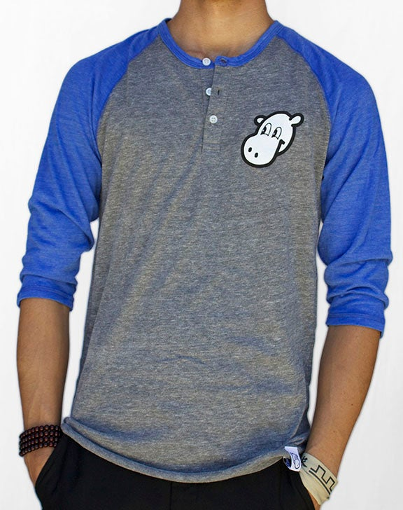 Image of 3/4 Sleeve Raglan Henley (Blue)