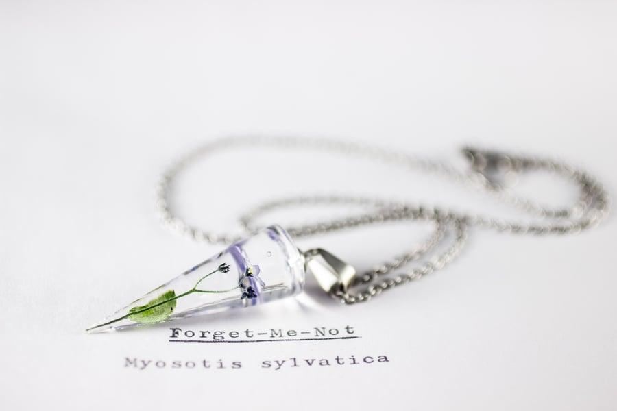 Image of Purple Forget-Me-Not (Myosotis sylvatica) - Conical Pendant #1