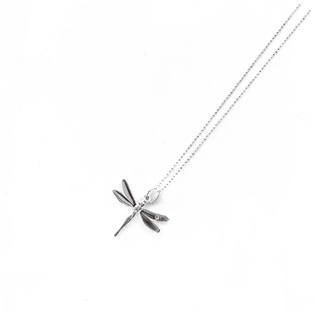 Image of Sterling Silver Dragon Fly Charm Necklace