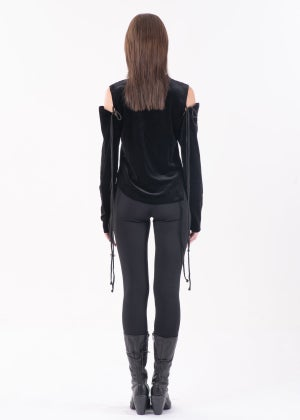 Image of SAMPLE SALE - Black Velvet Top With Lace Up Gloves
