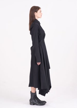 Image of SAMPLE SALE - Multi-Way Asymmetric Lace Up Shirt Dress Black