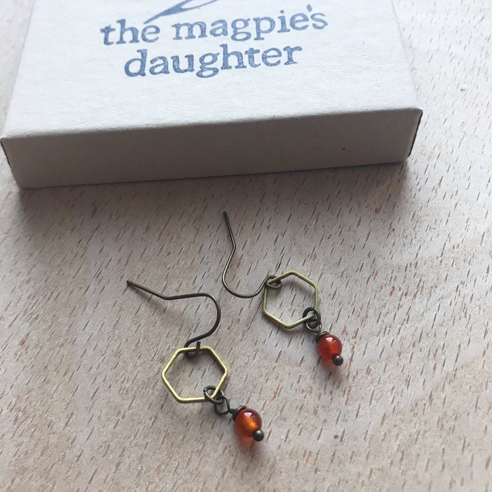 Image of Honeycomb + Bead earrings by The Magpie's Daughter