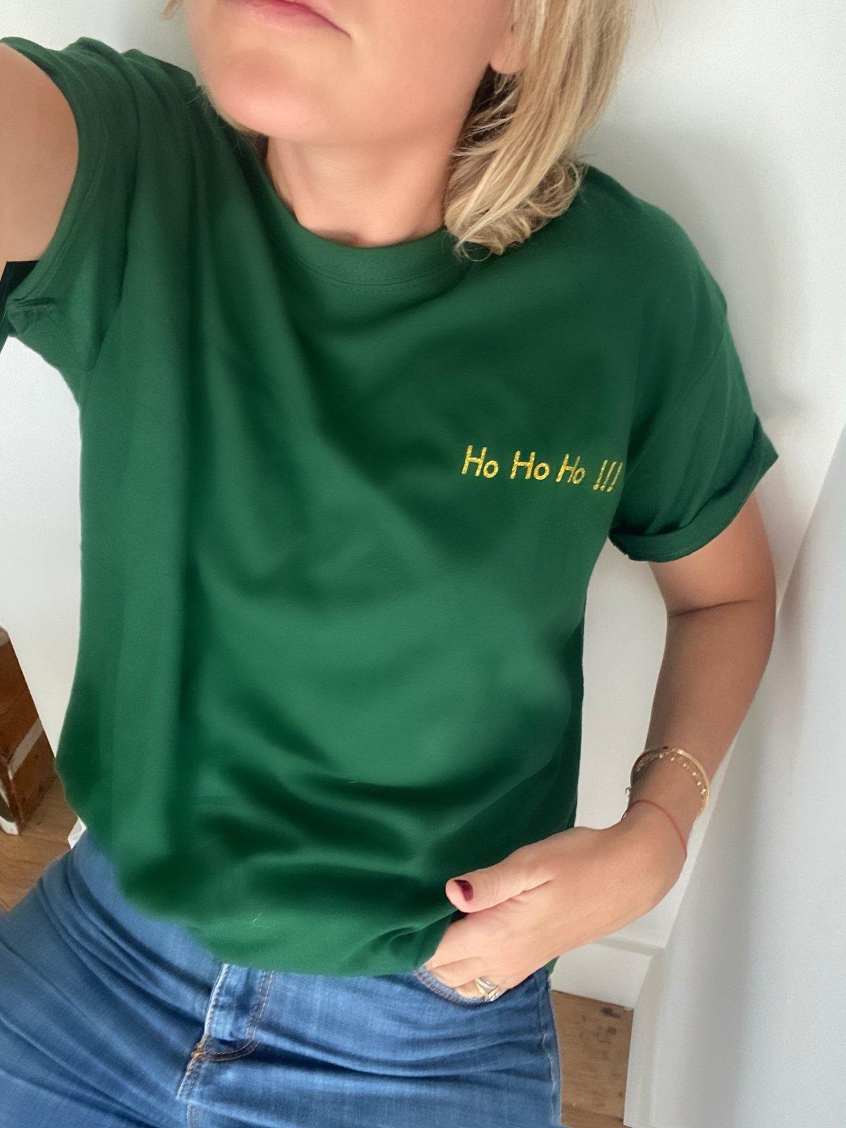 Image of Tee Shirt Vert Sapin ho ho ho !!!! Doré